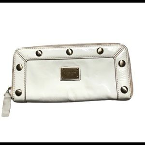 Michael Kors Delancey white studded zip wallet